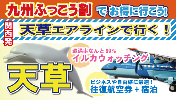 売切れ御免!【九州ふっこう割】関西発・天草宿泊プラン!遭遇率99%のイルカウォッチングも♪